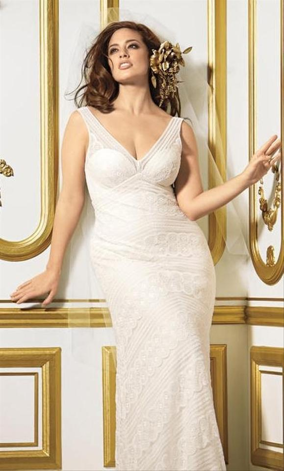 Watters Ivory Lace Pallas 11502 Feminine Wedding Dress Size 8 M