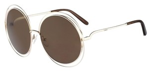Chloé Carlina Round Wire-Frame Sunglasses Gold/Transparent Dark Brown