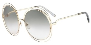 Chloé Chloe Carlina Round Wire-Frame Sunglasses Light Gold/Transparent Light Grey