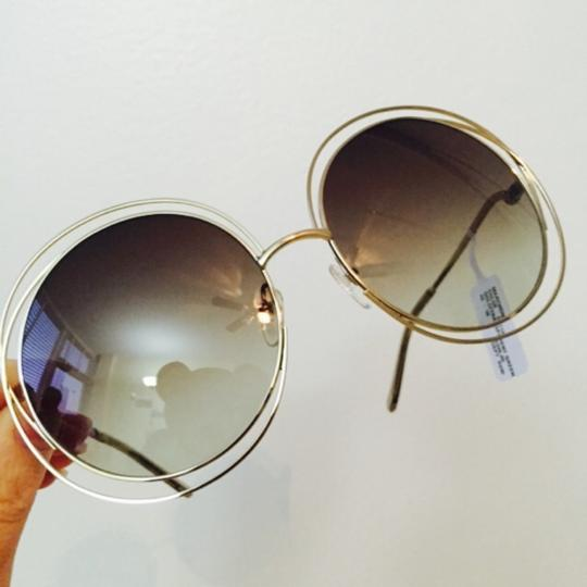 Chloé Chloe Carlina Round Wire-Frame Sunglasses Gold Green/Brown Green Shaded