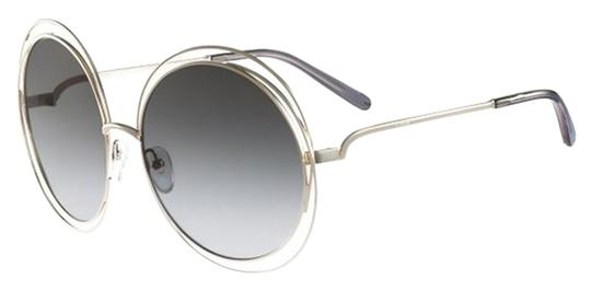 Chloé Chloe Carlina Round Wire-Frame Sunglasses Gold Blue Navy/Blue Navy Shaded