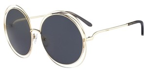 Chloé Chloe Carlina Round Wire-Frame Sunglasses Gold/Transparent Grey
