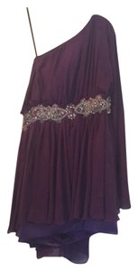 Jovani One Shoulder Embellishment Jeweled Belt Party Flowy Dress
