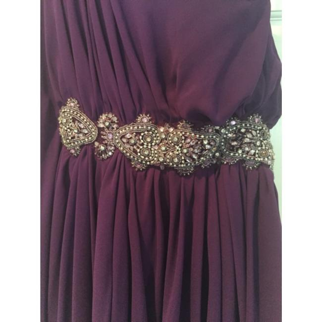 Jovani One Shoulder Embellishment Jeweled Belt Party Flowy Dress Image 2