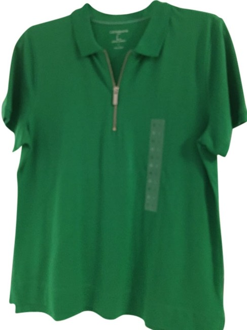 Liz Claiborne Golf Cotton Short Sleeve Ribbed Button Solid Polo Shirt Top Green
