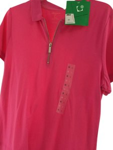 Liz Claiborne Golf Cotton Short Sleeve Ribbed Button Solid Polo Shirt Top Pink