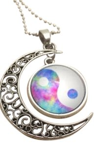 Brand New!!! Galaxy Yin Yang Moon Necklace Free Shipping