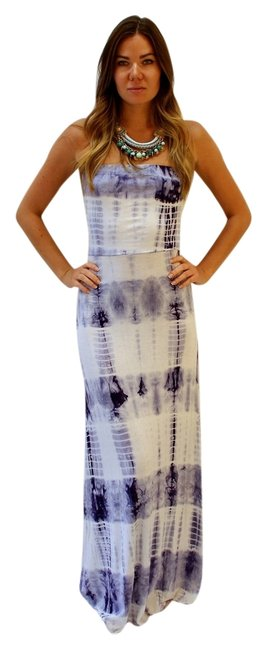 Blue & white tie-dye Maxi Dress by Leshop Maxi Comfortable Boho Elastic Strapless