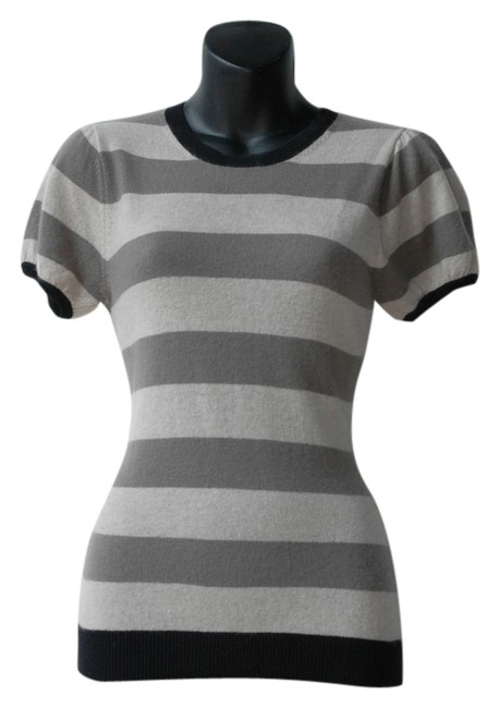 Preload https://item2.tradesy.com/images/autumn-cashmere-gray-striped-beige-short-sleeve-sweaterpullover-size-0-xs-5885731-0-0.jpg?width=400&height=650