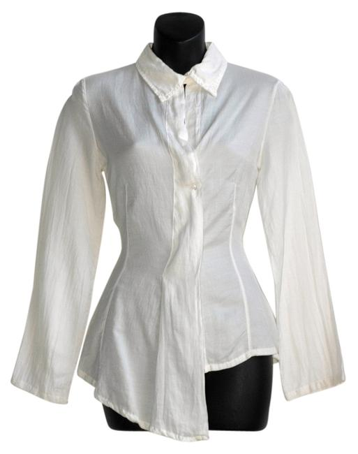 Preload https://item4.tradesy.com/images/la-fee-maraboutee-white-shirt-uneven-asymmetrical-button-down-top-size-8-m-5885848-0-0.jpg?width=400&height=650