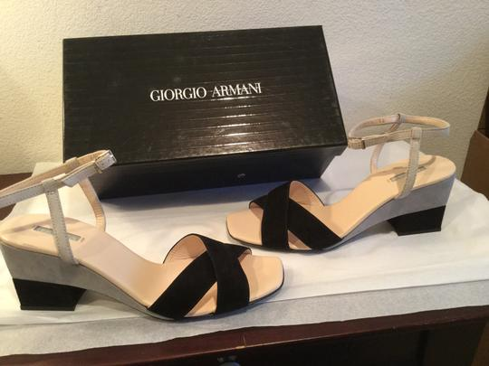 Giorgio Armani All Leather Italian E38 With Gray and black Sandals