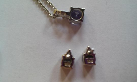 Other Natural Tanzanite & Diamond Earring and Pendant set in 10 K solid white gold - MINT