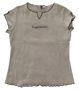 Graphography Vintage Seagram's Gin T Shirt White with navy edging