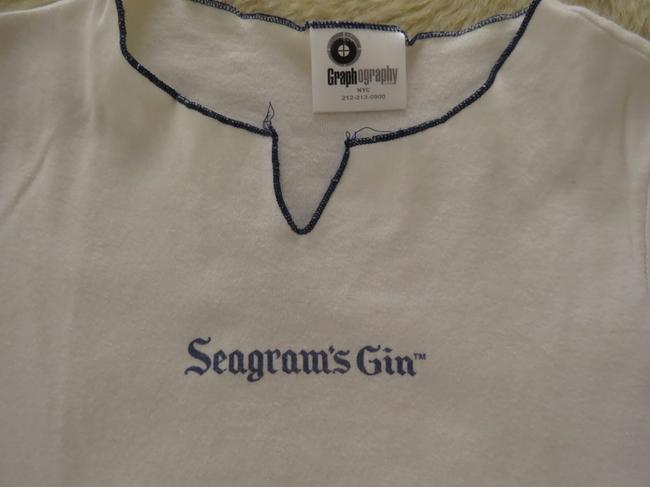 Graphography Vintage Seagram's Gin T Shirt White with navy edging Image 1