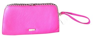 Jessica Simpson Monogram Silver Wristlet in Pink