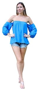 Elan Blue Gypsy Boho Top Cobalt Blue