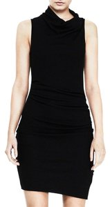 Helmut Lang short dress Black Asymmetric Hem Drape Draped on Tradesy