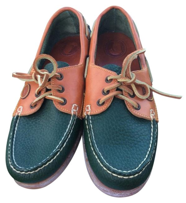 Item - Green/Tan Leather Boat Oxfords. Sz. Flats Size US 8 Wide (C, D)