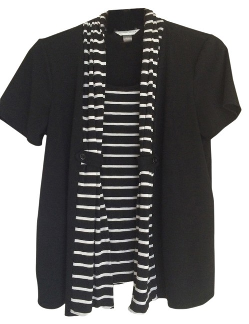 Preload https://item2.tradesy.com/images/christopher-and-banks-black-and-white-blouse-size-14-l-5886481-0-0.jpg?width=400&height=650
