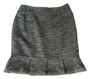 Nanette Lepore Tweed Pleated Skirt Grey tweed