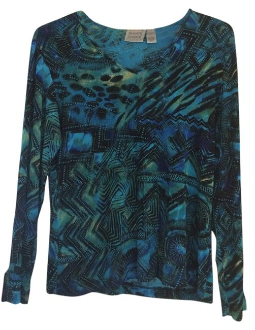 Chico's Stretchy Top Blue, Black, Green