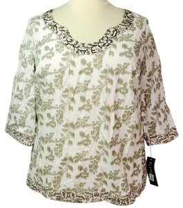 Elementz Plus Size Fashions 3/4 Sleeves Beaded Top