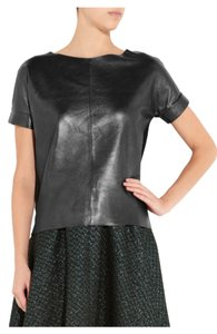 Maje Leather Designer Trendy Top Black/Grey