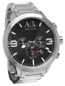 A|X Armani Exchange Armani Exchange Men's Silver Tone Stainless Steel Black Dial Chronograph Watch AX1272