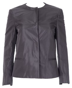 Prada Silver Gray Long Sleeve Silk Jacket