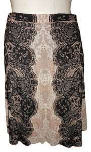 BCBGMAXAZRIA Karlie Knit Skirt Black, tan & cream