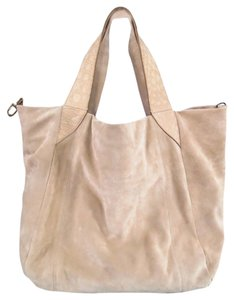 Brunello Cucinelli Buckle Crocodile Embossed Suede Tote in Beige