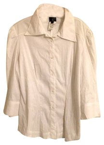 Just Cavalli Button Front 3/4 Sleeve Button Down Shirt White