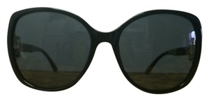 Escada Escada Oversized Black Sunglasses with Gold Accents and Braided Arms.