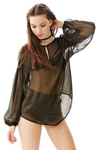 Urban Outfitters #shimmer #sheer #bohochick Top Black & Gold