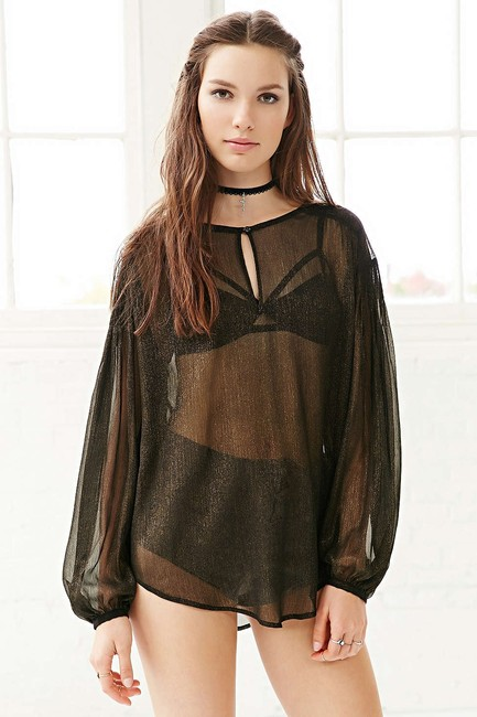 Urban Outfitters #shimmer #sheer #bohochick #poetsleeves #tunic Top Black & Gold