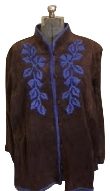 Linea by Louis Dell' Olio brown with blue embroidery Leather Jacket