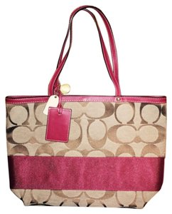 Coach Tote in Red & Brown