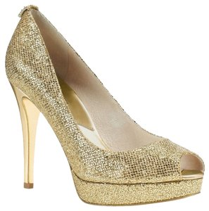Michael Kors Glitter Stiletto Gold Pumps