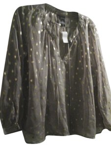 Bisou Bisou Size Large Large Top Brown Sheer Fabric