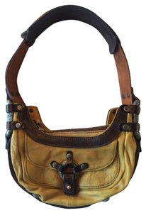 Diesel Olive Dark Brown Leather Industrial Shoulder Bag