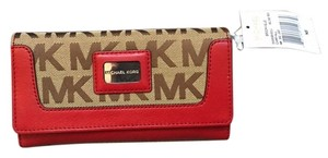 Michael Kors Michael Kors Signature Brookville Carryall Card Case Wallet NWT Red and Tan