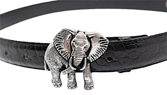 Vicenza VICENZA Black Alligator Embossed Leather Belt w/Silver Elephant Buckle - Sz 32 Image 0