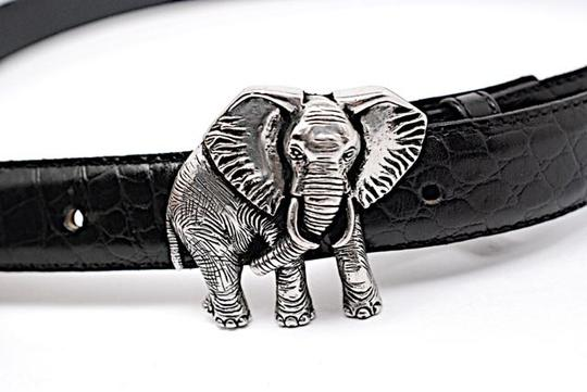 Vicenza VICENZA Black Alligator Embossed Leather Belt w/Silver Elephant Buckle - Sz 32 Image 3