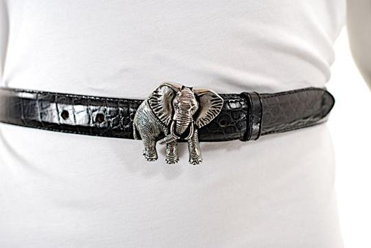 Vicenza VICENZA Black Alligator Embossed Leather Belt w/Silver Elephant Buckle - Sz 32