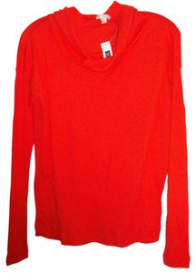Gap Cowl Neck Waffle Knit Henley T Shirt Red