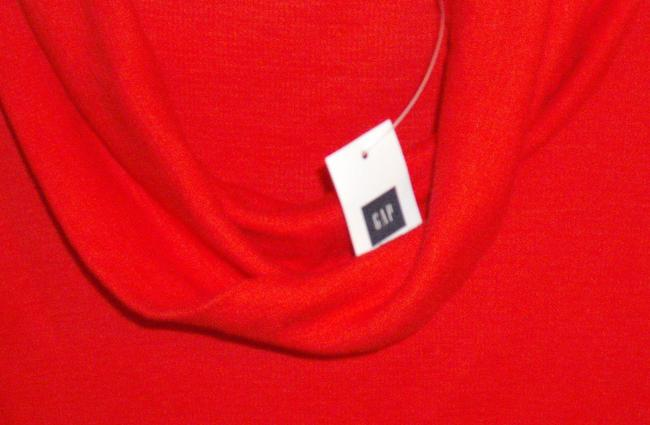 Gap Cowl Neck Waffle Knit Henley Tee T Shirt Red