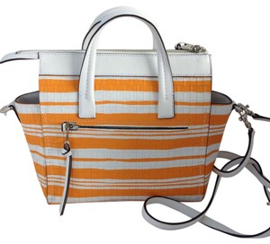 Coach Satchel in White/Orange