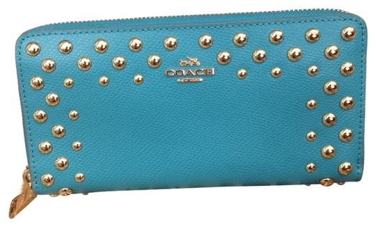 Preload https://img-static.tradesy.com/item/5892076/coach-studded-cadet-blue-leather-accordian-zip-around-wallet-f53146-gift-box-wristlet-0-0-540-540.jpg