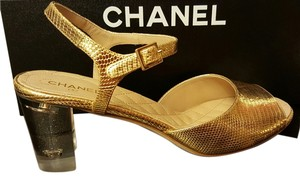 Chanel Floating Logo gold and clear Sandals