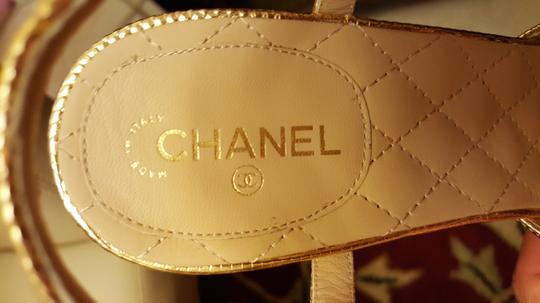 Chanel Floating Logo Lucite Heel gold and clear Sandals